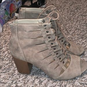 Rampage lace up open toe booties